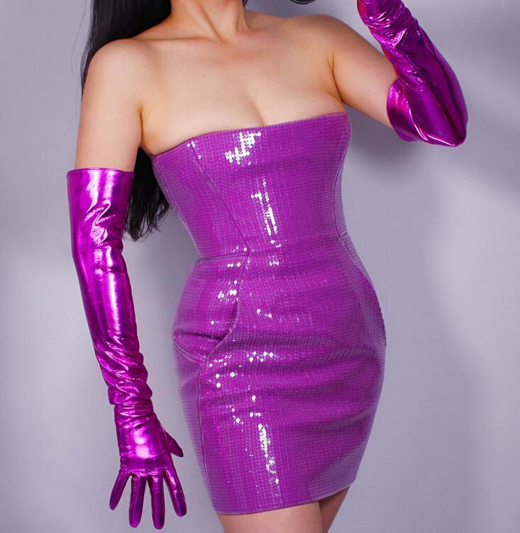 Women's Shiny Purple Color Faux Pu Leather Long Gloves Female Sexy Club Party Dress Fashion Long Glove 60cm R1572
