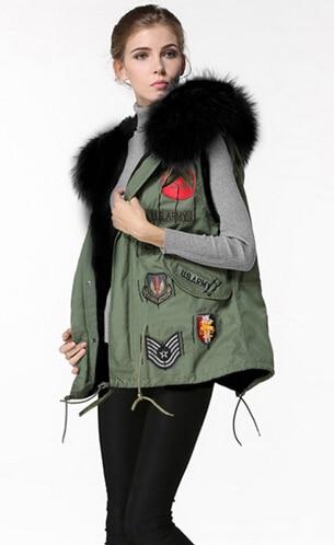 The Stars Gianna artifical Raccoon Fur Collar Rabbit Vest Army Green Jacket Liner women Sleeveless women vest