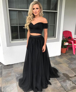 Cheap Black 2 Piece Prom Dresses Boat Neck Off The Shoulder Tulle Long Evening Gowns 2018 High Quality Wedding Party Dress