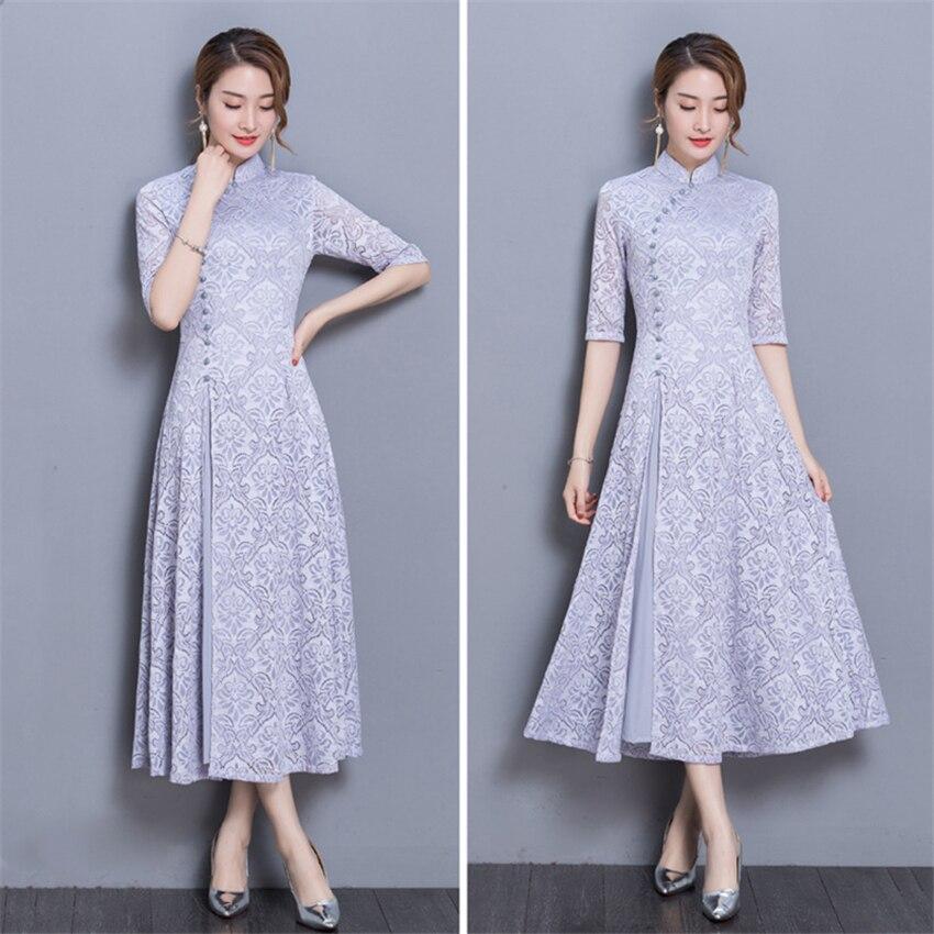 Mulher Do Vintage Ao Dai Vestido Tradicional Do Vietnã 8 Cores Gola Asiático Oriental Elegante Balanço Graciosa Meia Manga Cheongsam