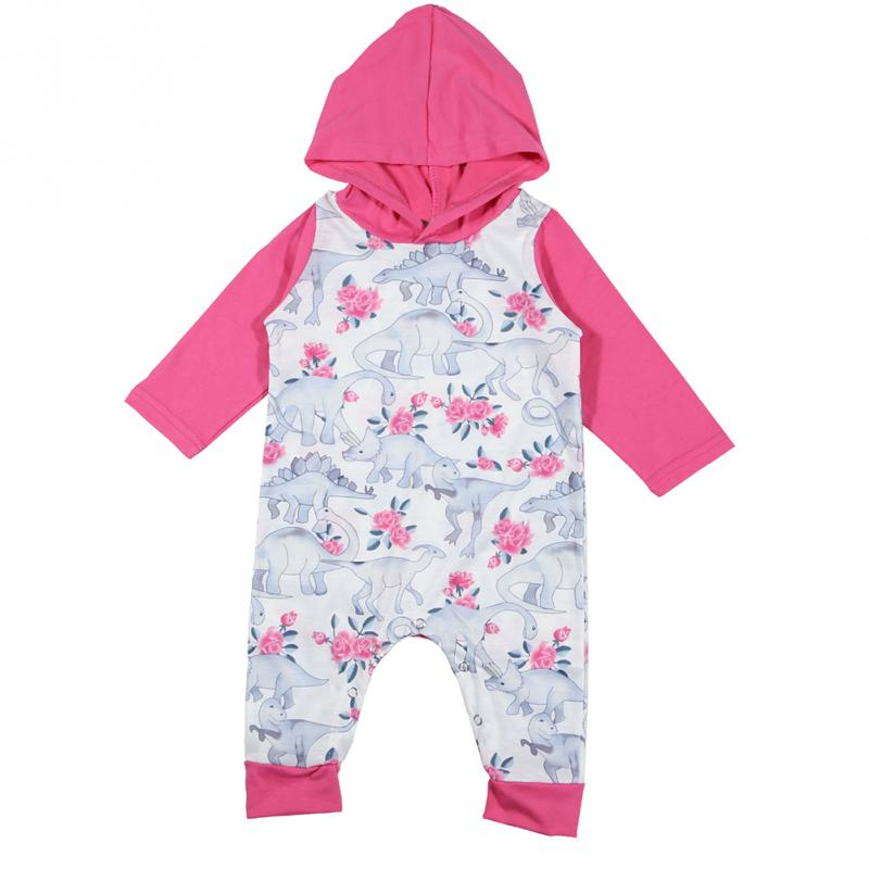 Clearance Winter spring soft Romper Jumpsuit Cute Newborn Boy Girl Dinosaur Print Hooded Hat Romper Baby set Cotton polyester