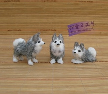 3 pieces a set simulaiton husky dog model polyethylene&fur mini husky dog dolls gift 583