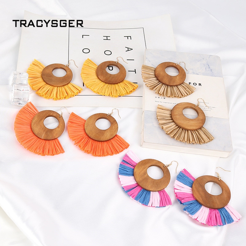 AE-84650 /TRACYSGER/bright colour raffia tassel wood earrings ...