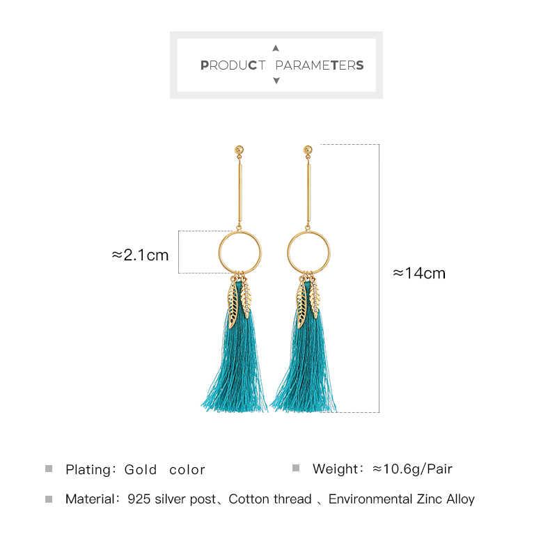KISS ME Blue Cotton Thread Tassel Earrings Ethnic Style Dangling Gold Color Leaf Long Earrings for Women Brand Jewelry