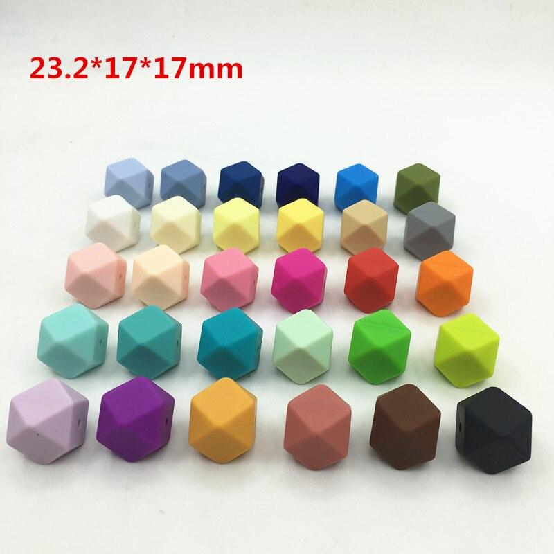 Prix pour 23.2 MM Hexagone Silicone Perles-DIY grand silicone Hexagone perles SANS BPA Silicone Perles sans joint ligne 50 pc/lot