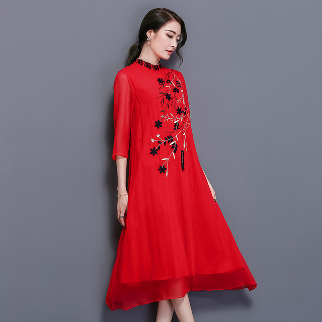 2018 New Arrival Feaday Chinese Style Loose Floral Three Quarter Embroidery Folk Style Dress Dress Embroidered  Summer Dresses