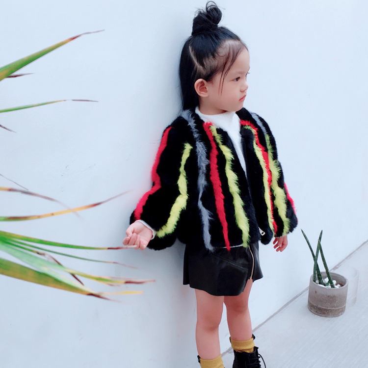JKP Warm jacket Imitation rabbit fur grass coat children girl thickening jacket autumn and winter children's girls coats FPC-235 girls coat autumn and winter thickening children s fur 2018 new korean version of the girl warm jacket children coats fpc 169