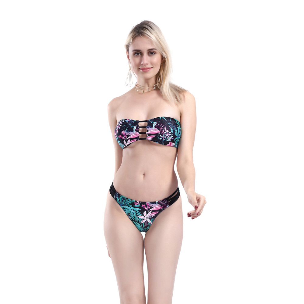 bikini 2019 printing Wrap chest Hollowing out Back bandage Breast pad T back blue bikinis set swimwear women swimsuit biquini in Bikinis Set from Sports Entertainment