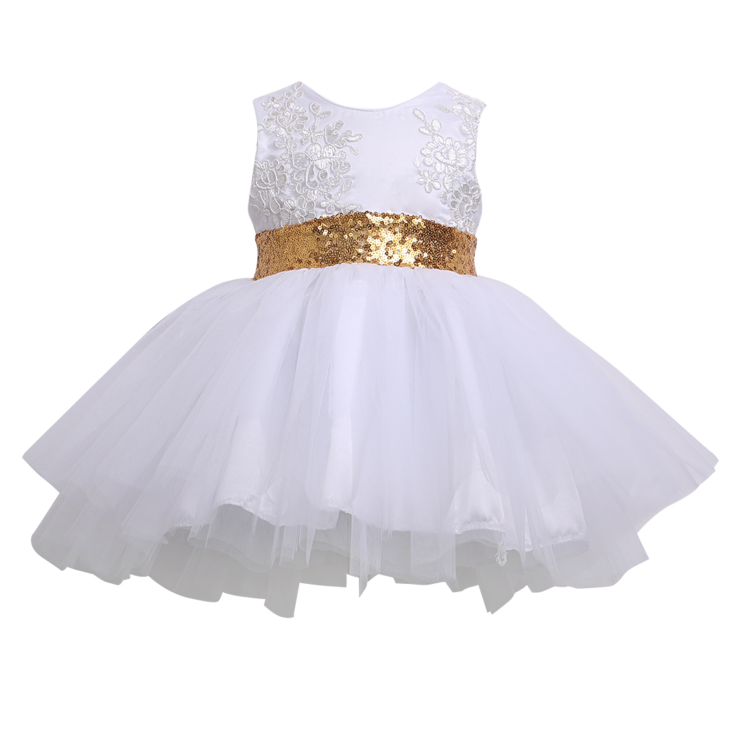 Bridesmaid Formal Clothing Dresses Kids Baby Girl Sequins Boknot Dress Cute Ball Gown Christmas Party Kids Baby Girls cute sleeveless sequins embellish multilayered girl s ball gown dress
