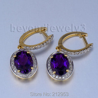 Vintage Oval 7x9mm Solid 14kt Yellow Gold Natural Purple Amethyst Earrings E0002