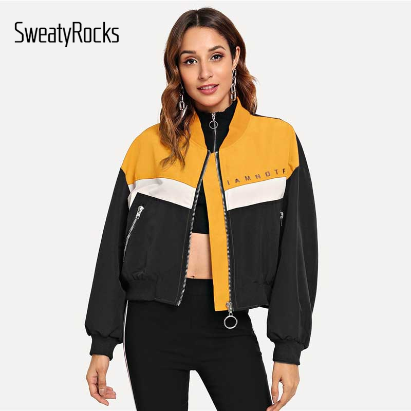 SweatyRocks Zip Up Letter Print Jacket Long Sleeve Stand Collar Coat Colorblock Women Crop Tops 2018 Autumn Style Casual Jackets image