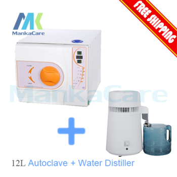 4 liters Portable water distiller Dental / Clinic / Hospital Sterilization Equipment and 12L Autoclave Class B Big Discount