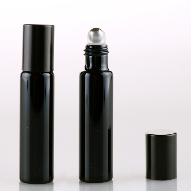 100 Pieces/Lot 10ML Refillable Black UV Glass Perfume Bottle With Roll On Empty Essential Oil  Vial For Traveler