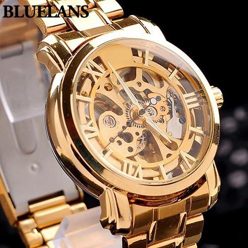 New Arrival Mens Retro Roman Numerals Hollow Skeleton Golden Tone Wristwatch Mechanical Watch 5UZR
