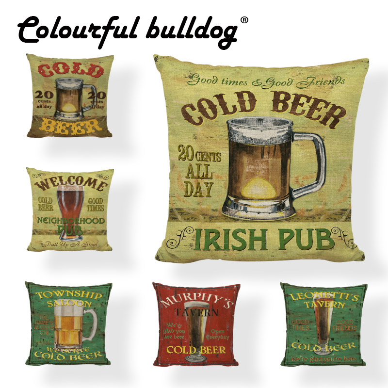 Wholesale Cold Beer Cushion Cover Glass Cup Man Cave 17*17In Poker Smoke Dice Old Irish Decorate Pub Home Living Room Pillowcase