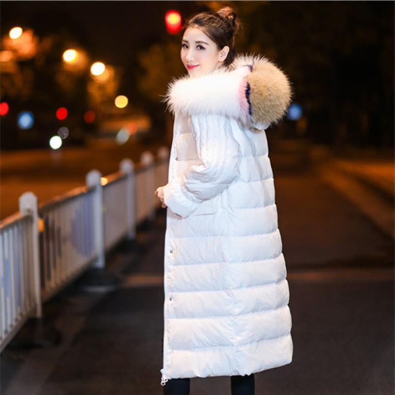 2018 hiver nouveau Blanc duvet de canard long down femelle épaissir grand col de fourrure de style décontracté manteaux femmes vestes chaudes gx1439 dropship