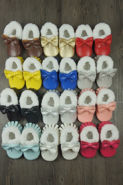 New style baby shoes with Fur First Walkers Toddler baby moccasins for winter Newborn Bow Shoes Free shipping