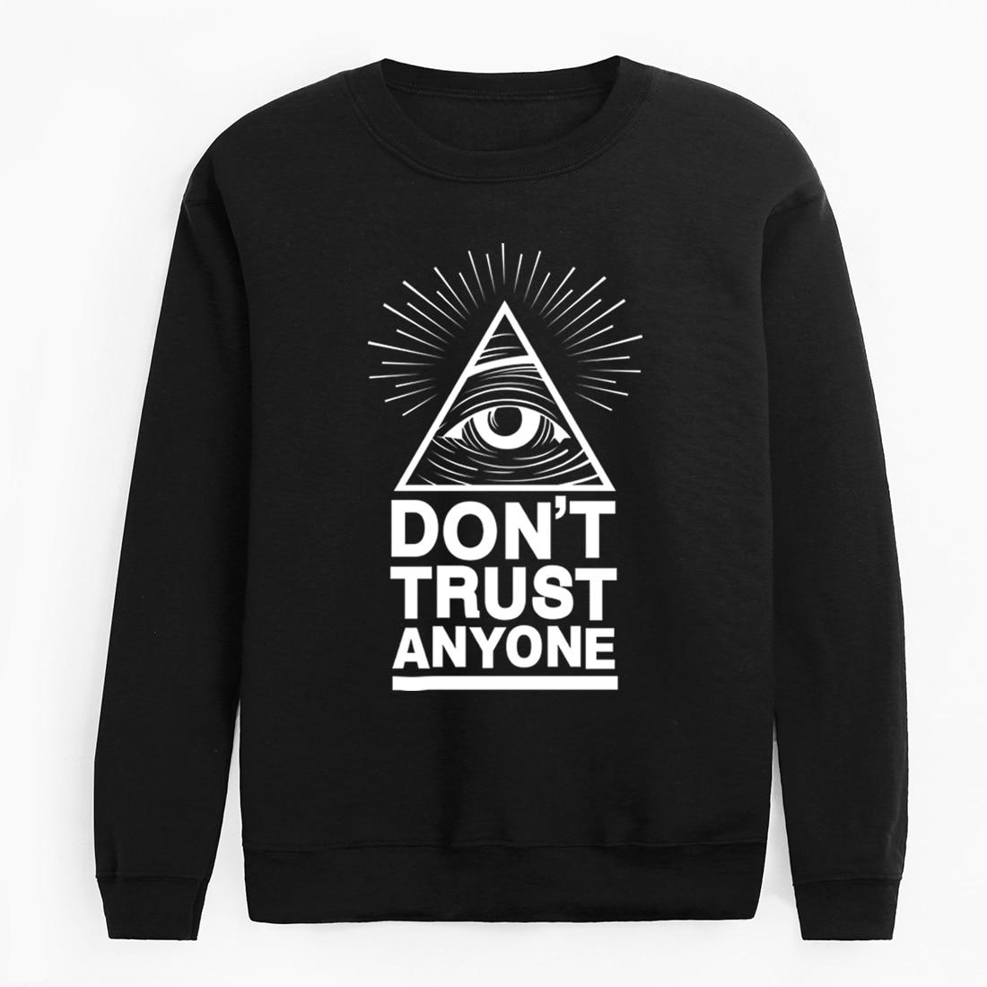 2020 New Harajuku Clothing Man Dont Trust Anyone Autumn Winter Fleece Hoodies Illuminati All Seeing Eye Sweatshirt Men Pullovers