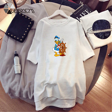 Donald Duck Cartoon Print Plus Size Summer Dresses Women Short SleeveFashion Loose Streetwear Mini Dress M-4XL
