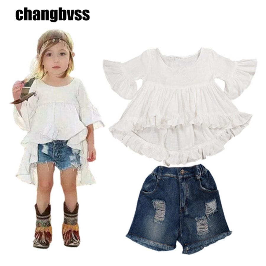 2pcs/set Fashion Toddler Girls Clothes Set Summer Girls Dovetail Dress Tops Short Jeans Pants Girls Outfit Set Clothing Set