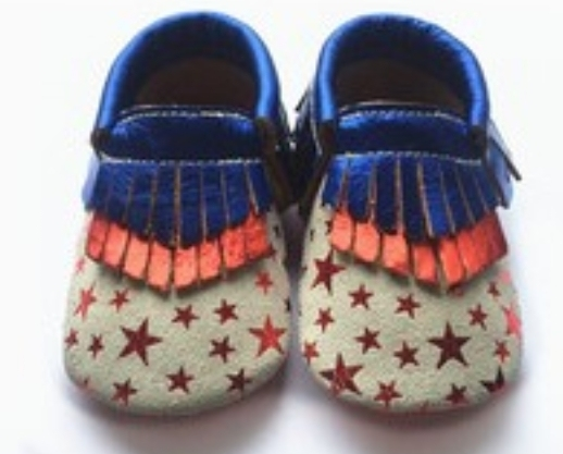 12pairs/lot  New Genuine Leather Baby Moccasins Shoes Striped Starts Printed Baby Shoes Newborn prewalkers toddler Bebe Shoes