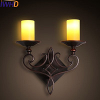IWHD Glass Wandlamp Iron Retro Wall Lamps LED 2 Heads Vintage Industrial Sconce Wall Light Fixture Candle Arandelas Lampen