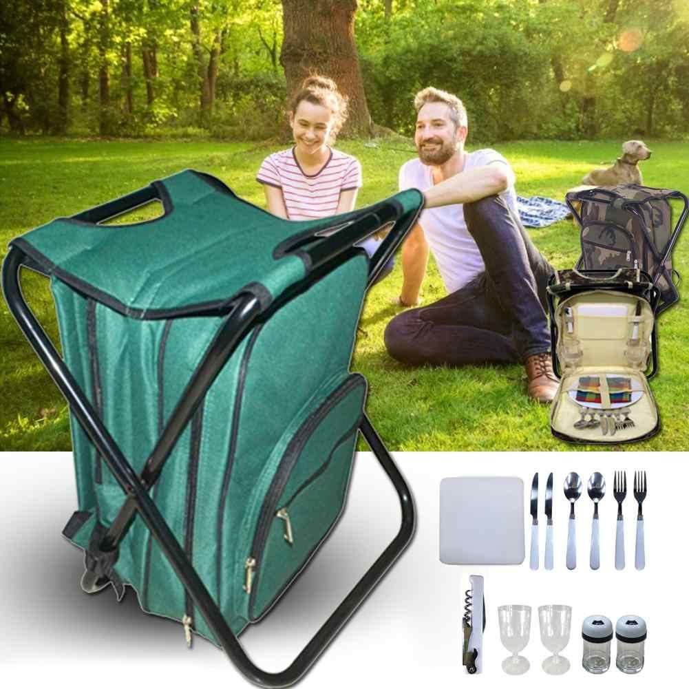 Tentara Hijau Kamuflase Piknik Ransel Kain Oxford Double-Layer Tas Isolasi Piknik Berkemah Di Luar Ruangan Tas Dua Orang Peralatan Makan