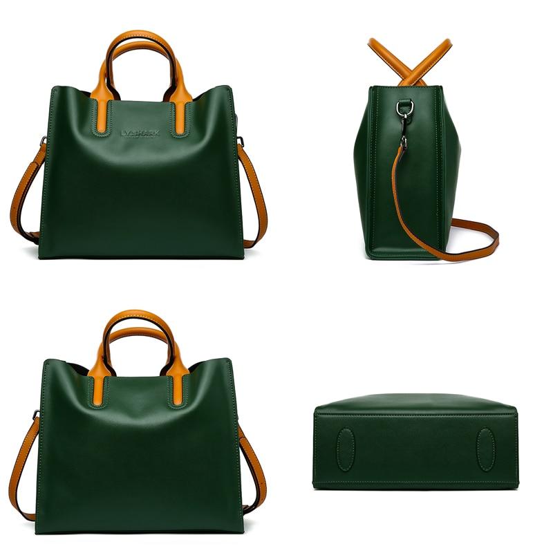 LY.SHARK Big Messenger Bag Women Shoulder Bag Female Bag Ladies Genuine Leather Bags For Women 2019 Women Handbags Green Black Karachi