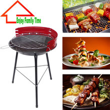 14″ Round Garden Steel Portable Charcoal BBQ Grill for Barbecue Camping Outdoor Cooking Barbecue Mini BBQ Stove For 3-5 Person