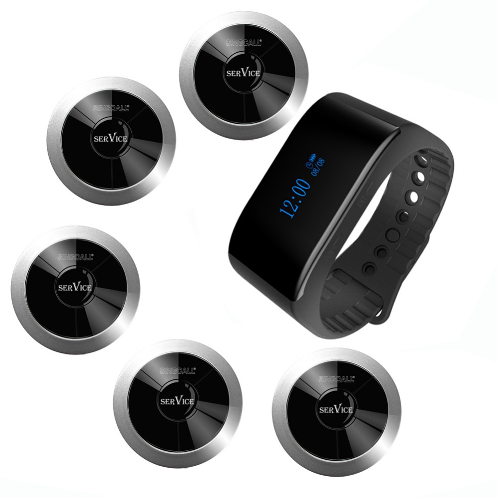 SINGCALL wireless call bell system restaurant calling  1 waterproof mobile watch receiver and 5  pagers  for calling service wireless waiter call system top sales restaurant service 433 92mhz service bell for a restaurant ce 1 watch 10 call button