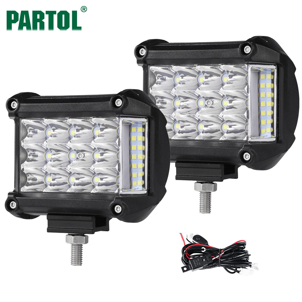 Partol 4 57W Work Light Tri-Row LED Light Bar Spot Flood Combo Beam Offroad 4WD 4x4 LED Bar for Pickup Camper Trailer 12V 24V spot flood combo 72w led working lights 12v 72w light bar ip67 for tractor truck trailer off roads 4x4 led work light