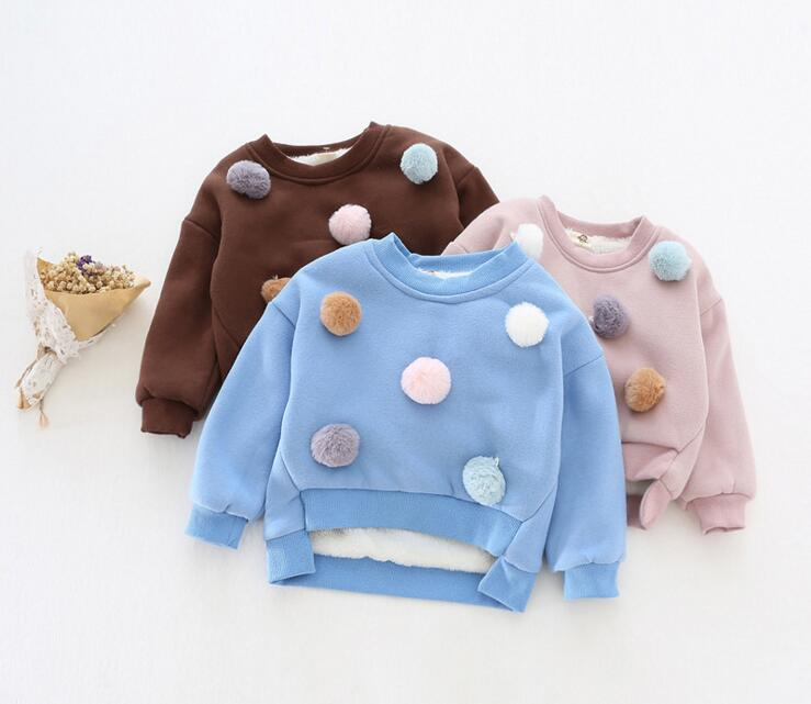 New2016 Girls and Boys Cute Cartoon Faux Fur Ball Cotton Cashmere Thicken Warm O-Neck Long Sleeve Hoodies Sweatshirts Coats Tops
