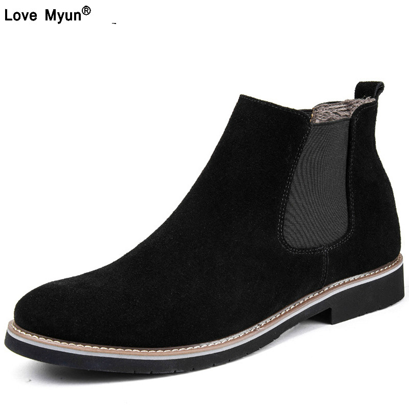 Warm Winter Casual Ankle Chelsea Boots Plush Suede Genuine Leather Men Boots Fur Fashion Male Botas Men Shoes 785 plush casual suede shoes boots mens flat with winter comfortable warm men travel shoes patchwork male zapatos hombre sg083