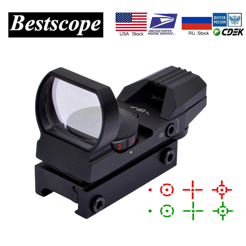 Tactical Holographic 4 Reticles Projected Red Green Dot Reflex Sight 20mm Rail