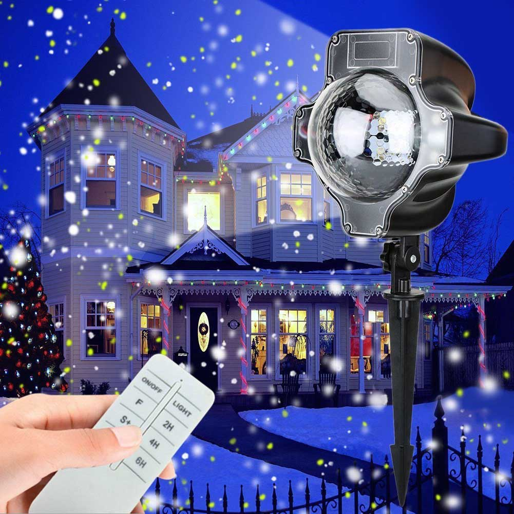 Christmas LED Snow Light Projector Snowflakes Night Lamp Home Garden Xmas Party Decor CLH@8