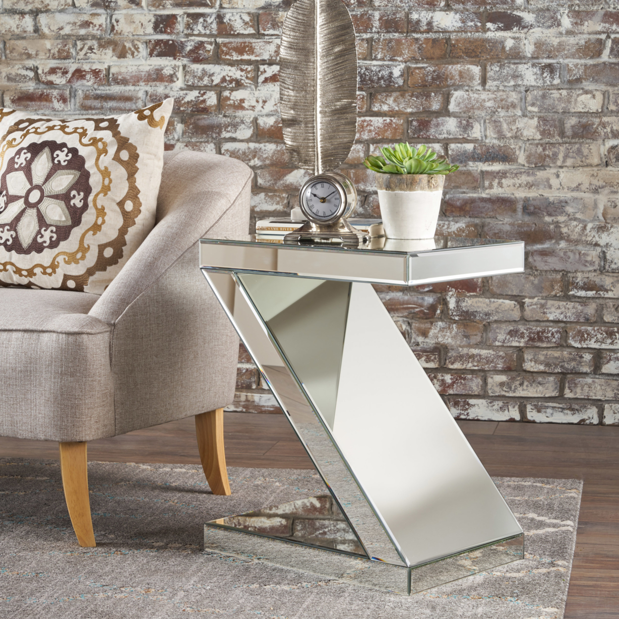 Adu Mirrored Z Shaped Side Table