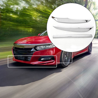3pcs Chrome Plated ABS Air Knife Front Bumper Auto Body Kits Lip Splitter Fins cover For Honda Accord 2018 2019