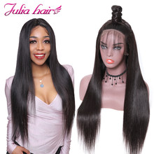 Ali Julia Hair Brazilian Remy Hair 360 Lace Front Wigs Straight Human Hair Wig 150% 180% Density For Choice(China)