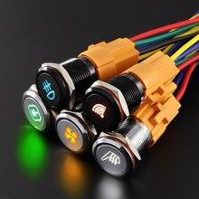LANBOO Interruptor de control de señal de encendido y apagado para coche, interruptor de botón con óxido de aluminio de 16mm, color negro, personalizable, 12, 24 y 220V