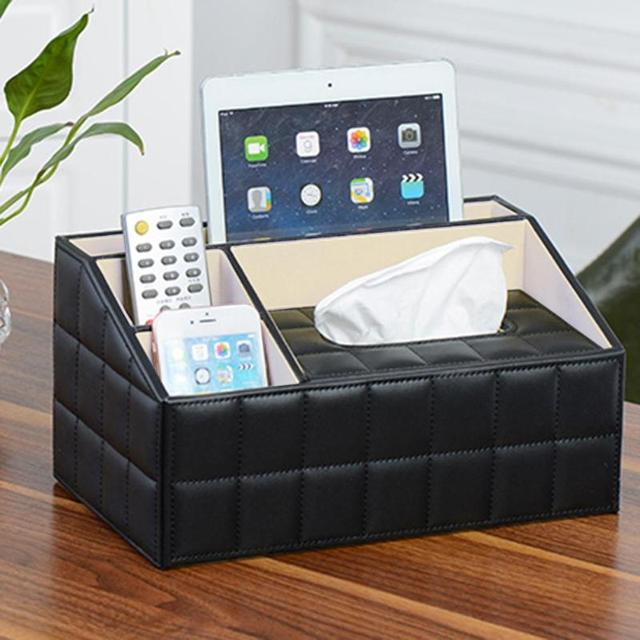 Retro PU Paper Extraction Box Desk Organizer Remote Control Storage Case  Phone Keys Sundries Storage Box