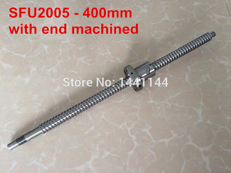 1pc  SFU2005 - 400mm ball screw with BK15/BF15 end machined1pc  SFU2005 - 400mm ball screw with BK15/BF15 end machined