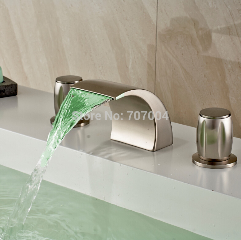 New Arrive Brushed Nickel LED Color Change Waterfall Basin Faucet Dual Handle Good Quality Bathroom Basin