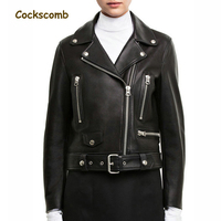 Cockscomb European and American Leather Jacket Women Turn Down Collar Zippers Studs Real Sheepskin Leather Coats for Autumn