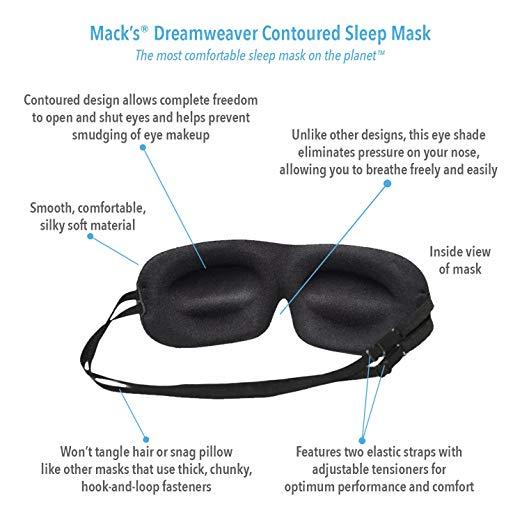 Eye Mask with Mack's Ultra Soft Foam Earplugs Mack's Dreamweaver Contoured Sleep Mask-Comfortable, Adjustable, Dual Strap