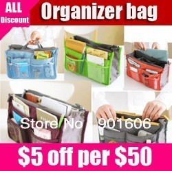 Freeshipping Duel Sided Bag in Bag Organiser! Fits into Standard-Sized Bags! 6 Colours!   Good quality reasonable price!