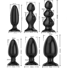 Black Silicone Big Butt Plug 6 Sizes Smooth Soft Huge Anal Beads Dilatador Balls Sex Toys For Men Woman
