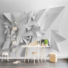 Modern minimalist 3d triangle TV background wall professional production mural custom photo wallpaper
