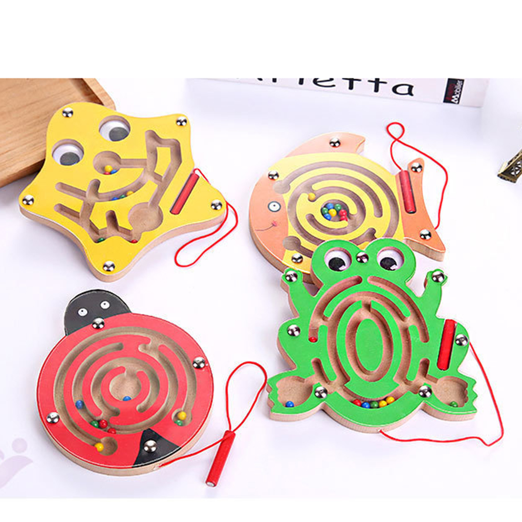 Children Magnetic Maze Toy Kids Wooden Puzzle Game Toy