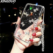 XINGDUO Crystal Diamond design transparent hard Phone case cover for Huawei P20 PRO Lite Mate 20 Pro cute Glitter Diamonds Bow