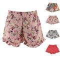 Estilo de verano Niños Niñas Floral Pantalones Cortos Con Dobladillo de La Pierna Del Algodón Bottoms Pantalones 1-6Y Niñas Pantalones Cortos Pantalones Cortos de La Colmena